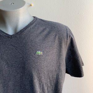Dark Grey Lacoste V Neck Short Sleeve T Shirt XXL